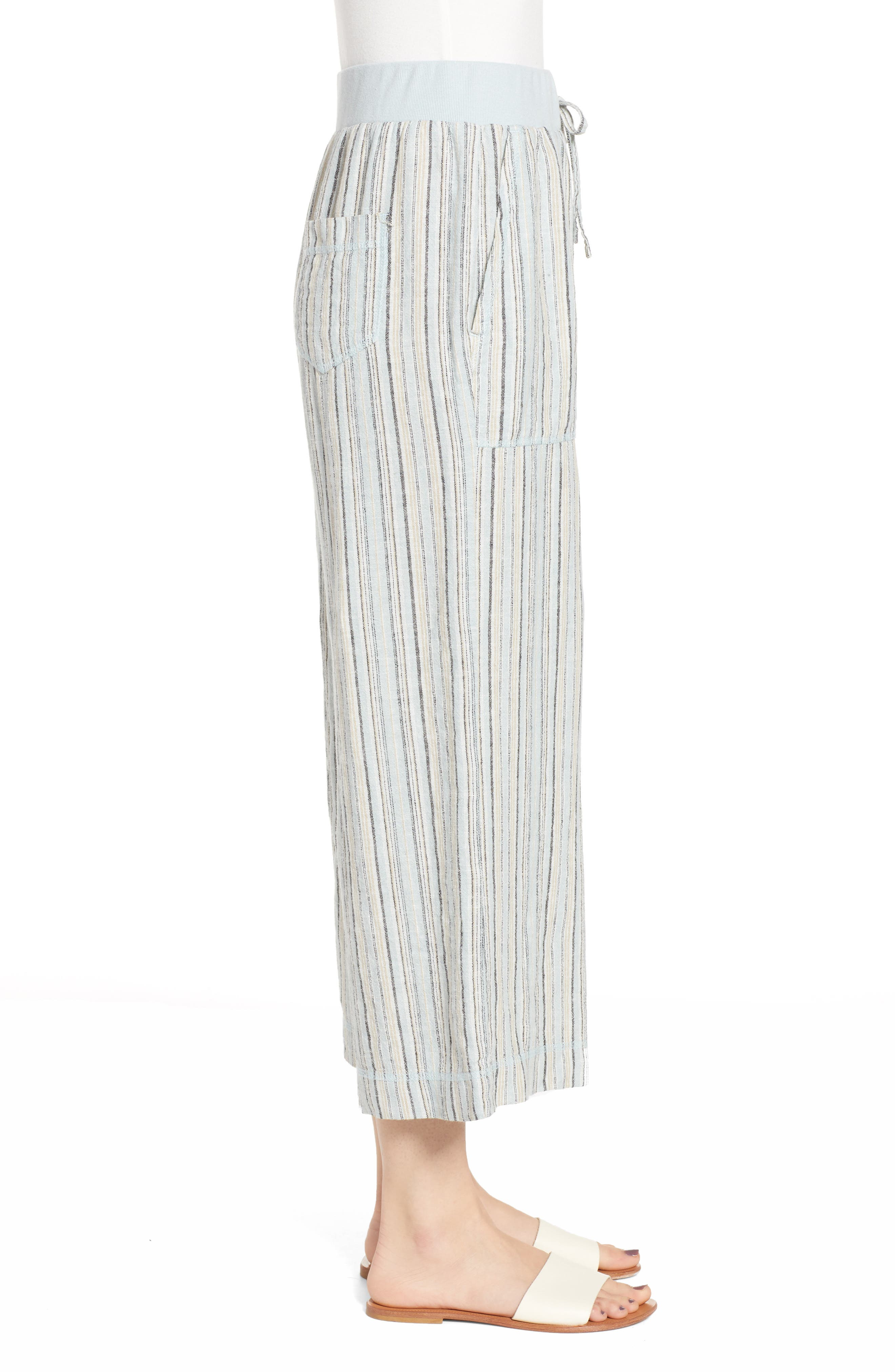 ,                             Stripe Crop Linen Blend Pants,                             Alternate thumbnail 6, color,                             450