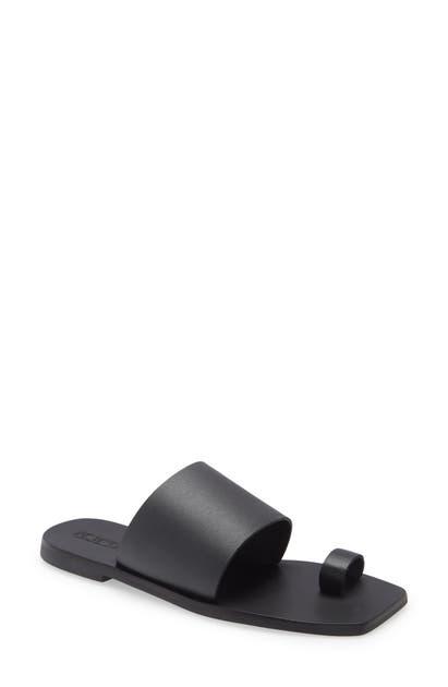 Sol Sana Toe Loop Slide Sandal In Black Leather