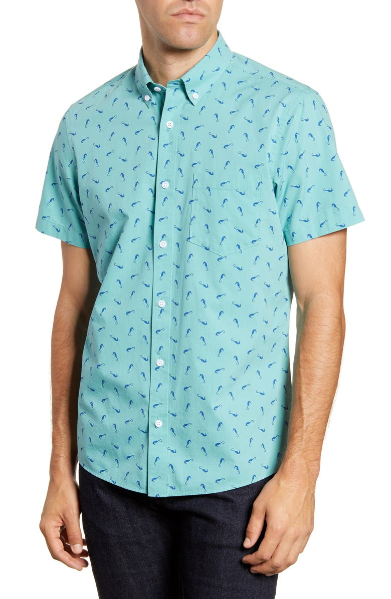 1901 Trim Fit Short Sleeve Button-Down Shirt, Main, color, GREEN CANTON SEA HORSES