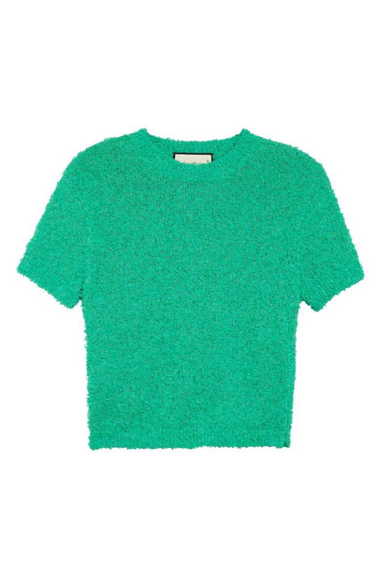 GUCCI Crop Bouclé Cotton Blend Top, Main, color, GARDEN GREEN