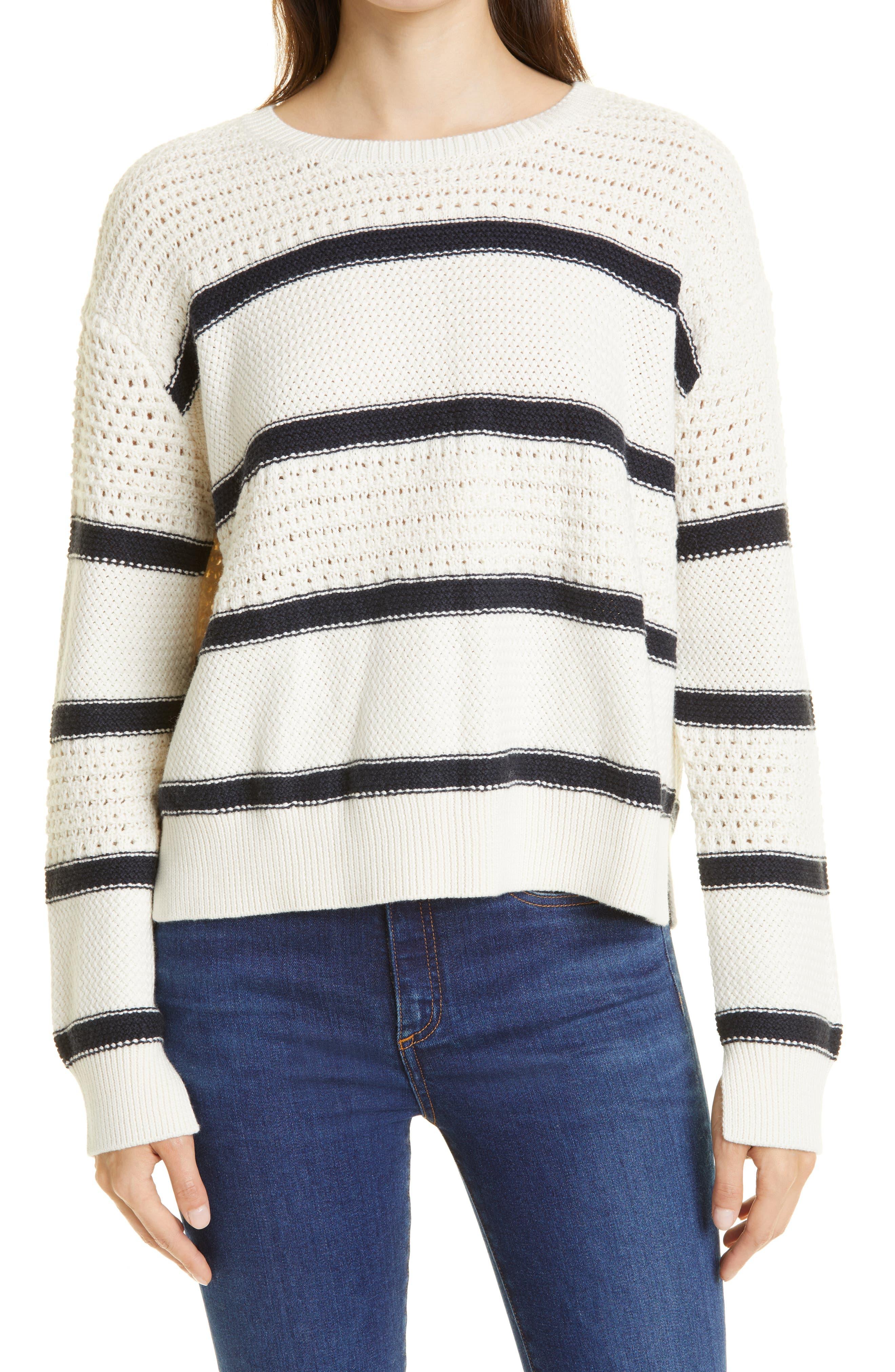 Texture Mix Stripe Cotton & Cashmere Sweater