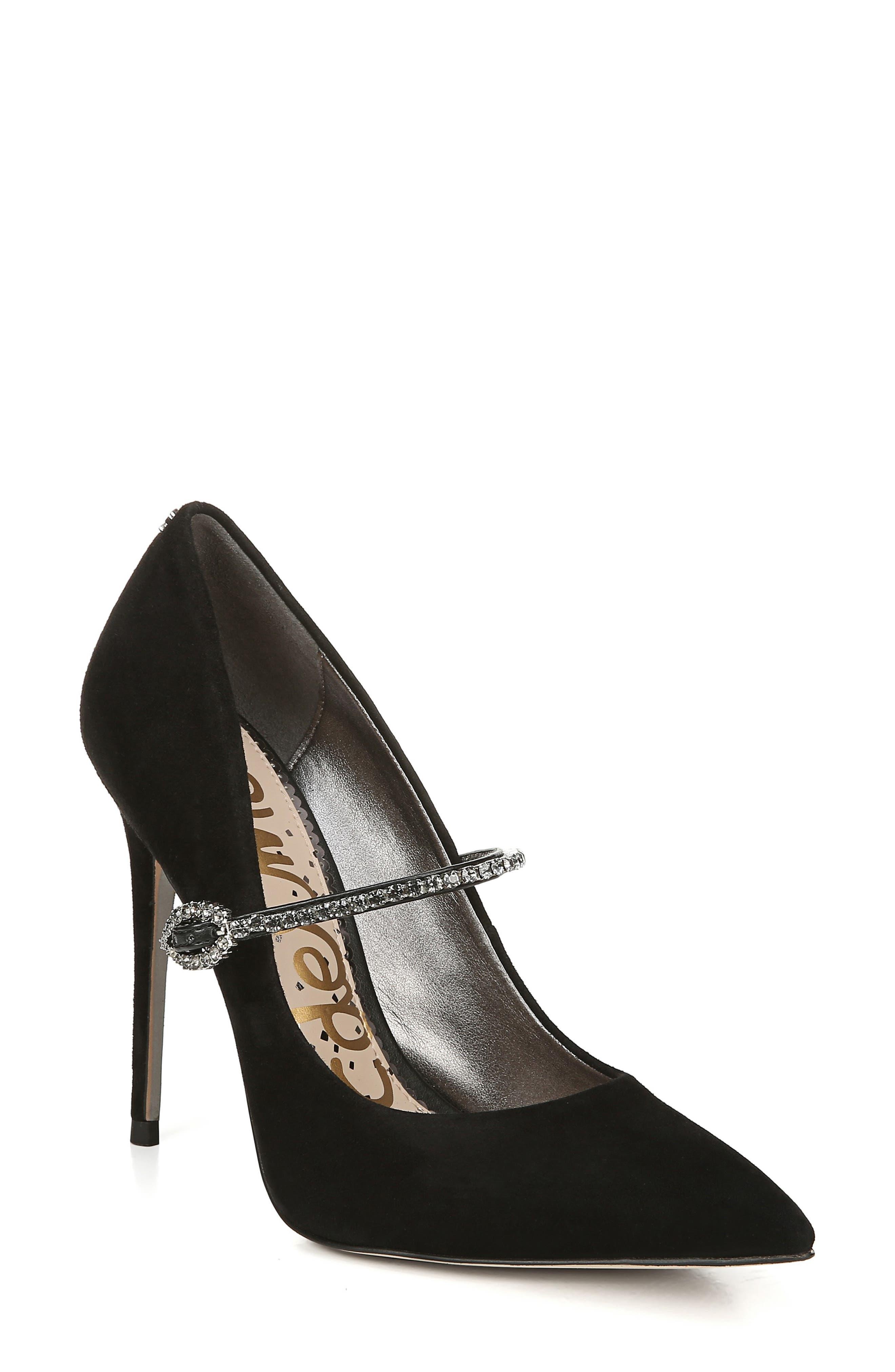 Sam Edelman Debrah Crystal Mary Jane Pointed Toe Pump (Women)