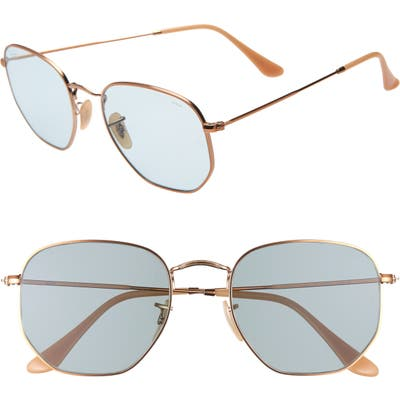 Ray-Ban 5m Evolve Photochromic Hexagon Sunglasses - Gold/ Light Blue Solid
