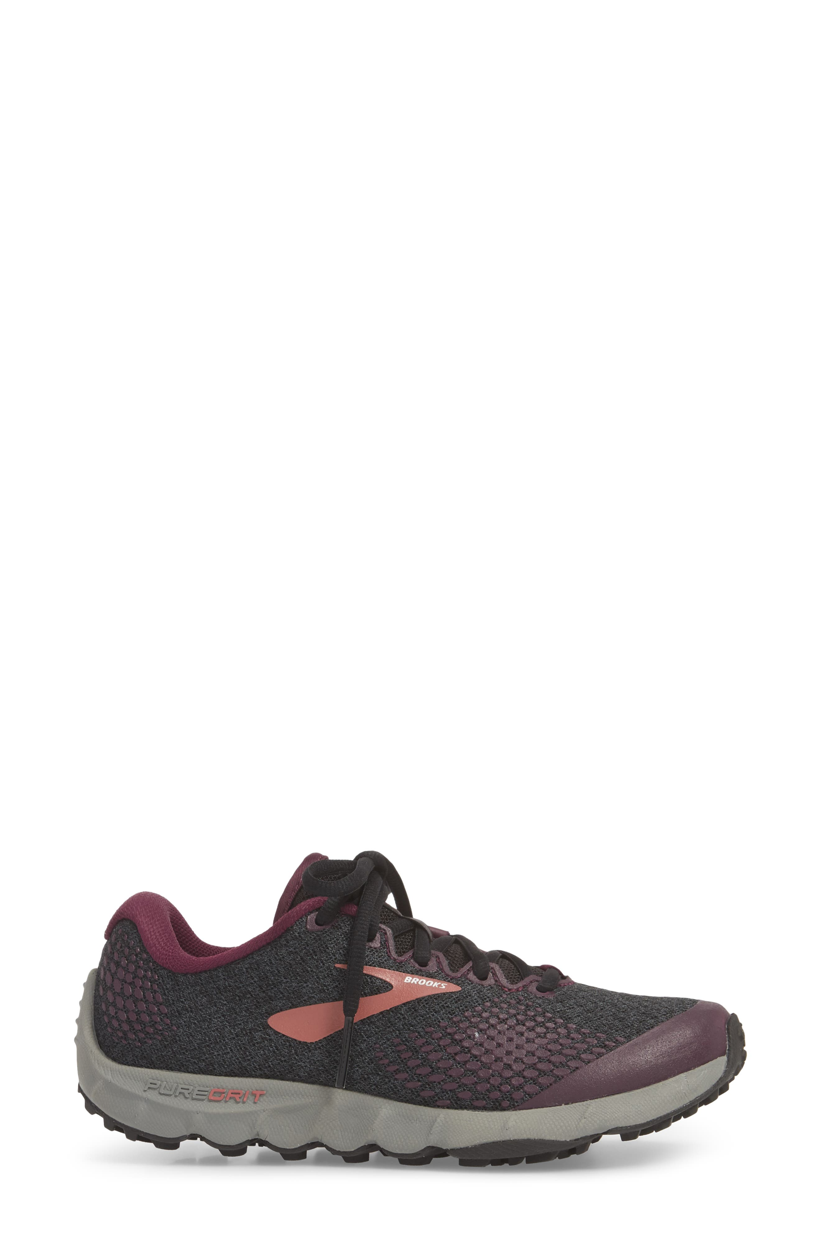 ,                             PureGrit 7 Trail Running Shoe,                             Alternate thumbnail 3, color,                             BLACK/ PURPLE/ GREY