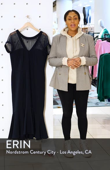 Illusion Yoke Ruffle Hem Midi Dress, sales video thumbnail