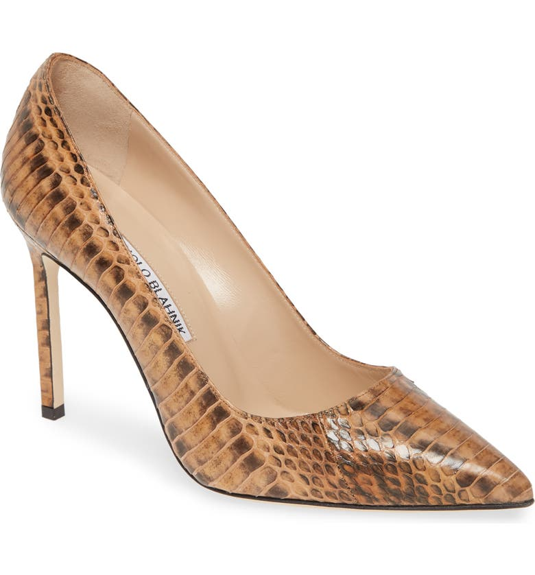 MANOLO BLAHNIK 'BB' Genuine Python Pointy Toe Pump, Main, color, TAN/ BROWN SNAKE