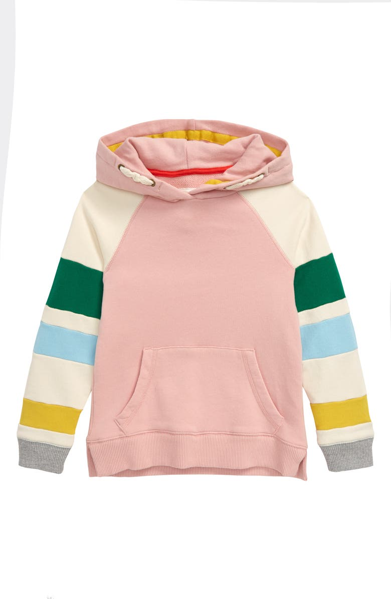 MINI BODEN Boden Colorblock Hoodie, Main, color, BOTO PINK MARL