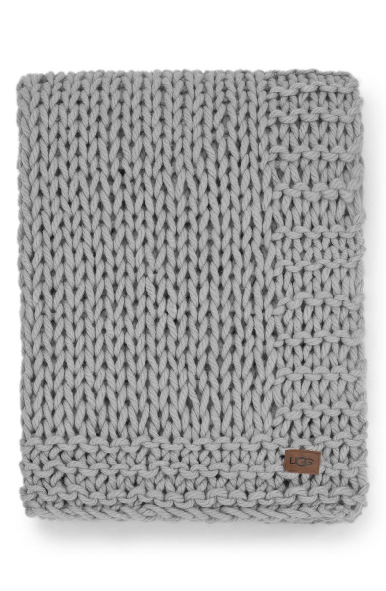 UGG<SUP>®</SUP> Wharf Knit Throw Blanket, Main, color, SEAL