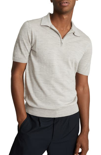 Reiss MAXWELL ZIP MERINO WOOL POLO SWEATER
