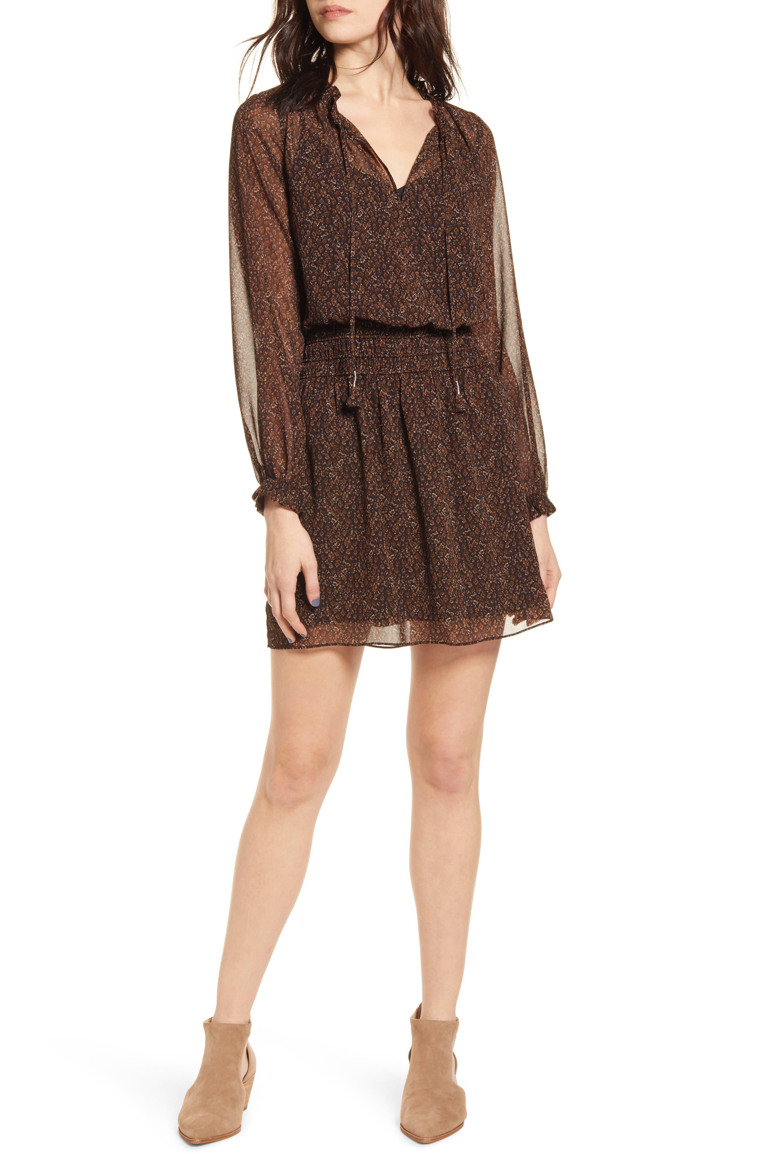 Socialite Long Sleeve Smocked Waist Chiffon Minidress