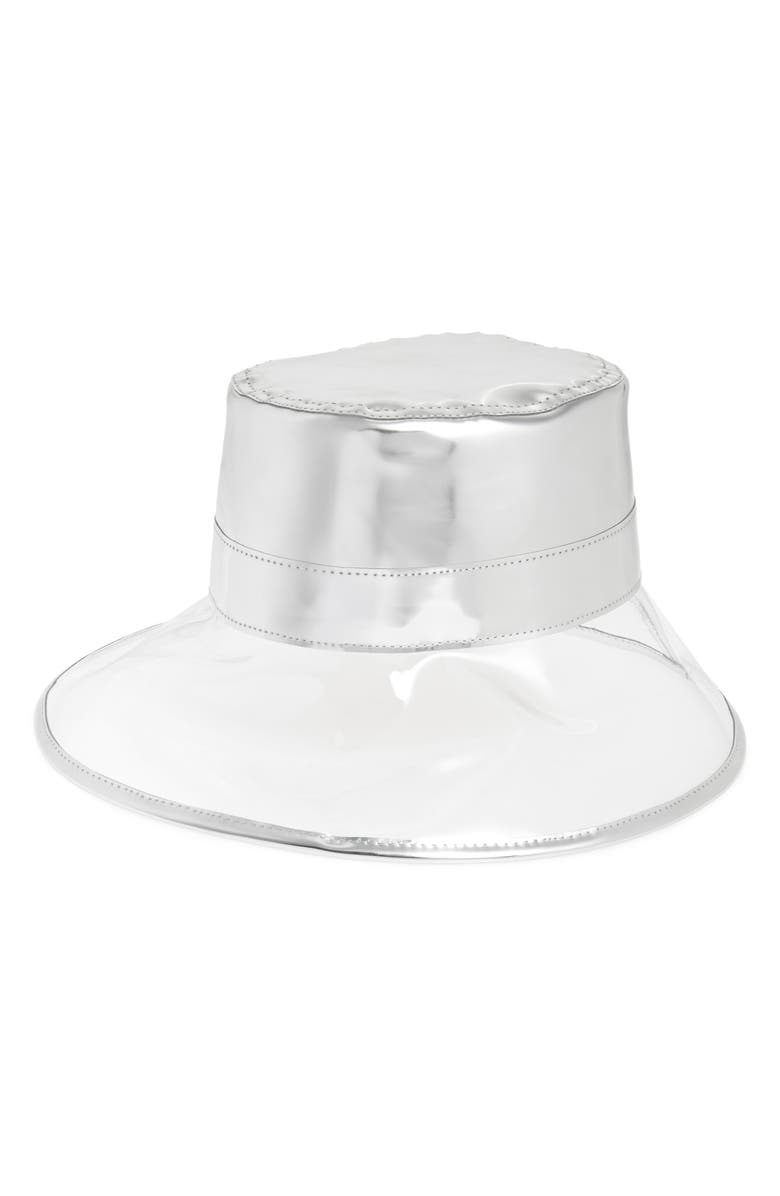 ERIC JAVITS Go Go Rain Bucket Hat, Main, color, CRYSTAL/ SILVER