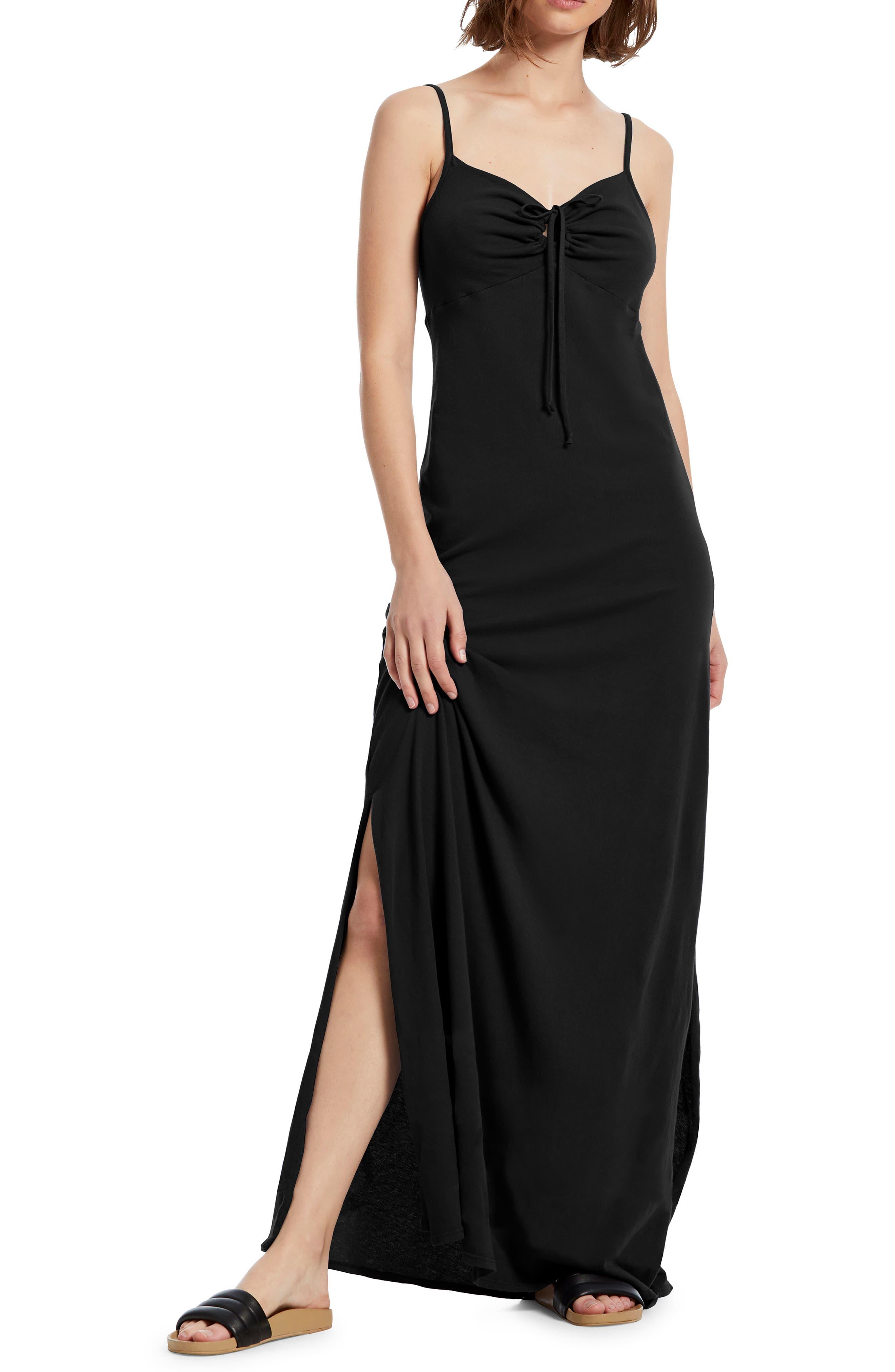 Michael Stars Johanna Side Slit Cotton Maxi Dress, Black