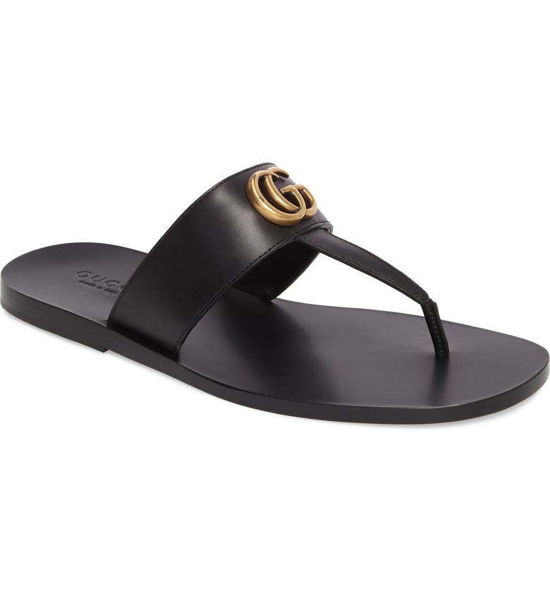 GUCCI Marmont Double G Leather Thong Sandal, Main, color, BLACK/ GOLD