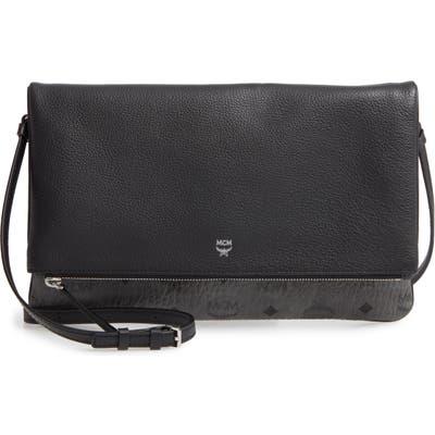 Mcm Corina Leather & Visetos Canvas Foldover Crossbody Bag - Black