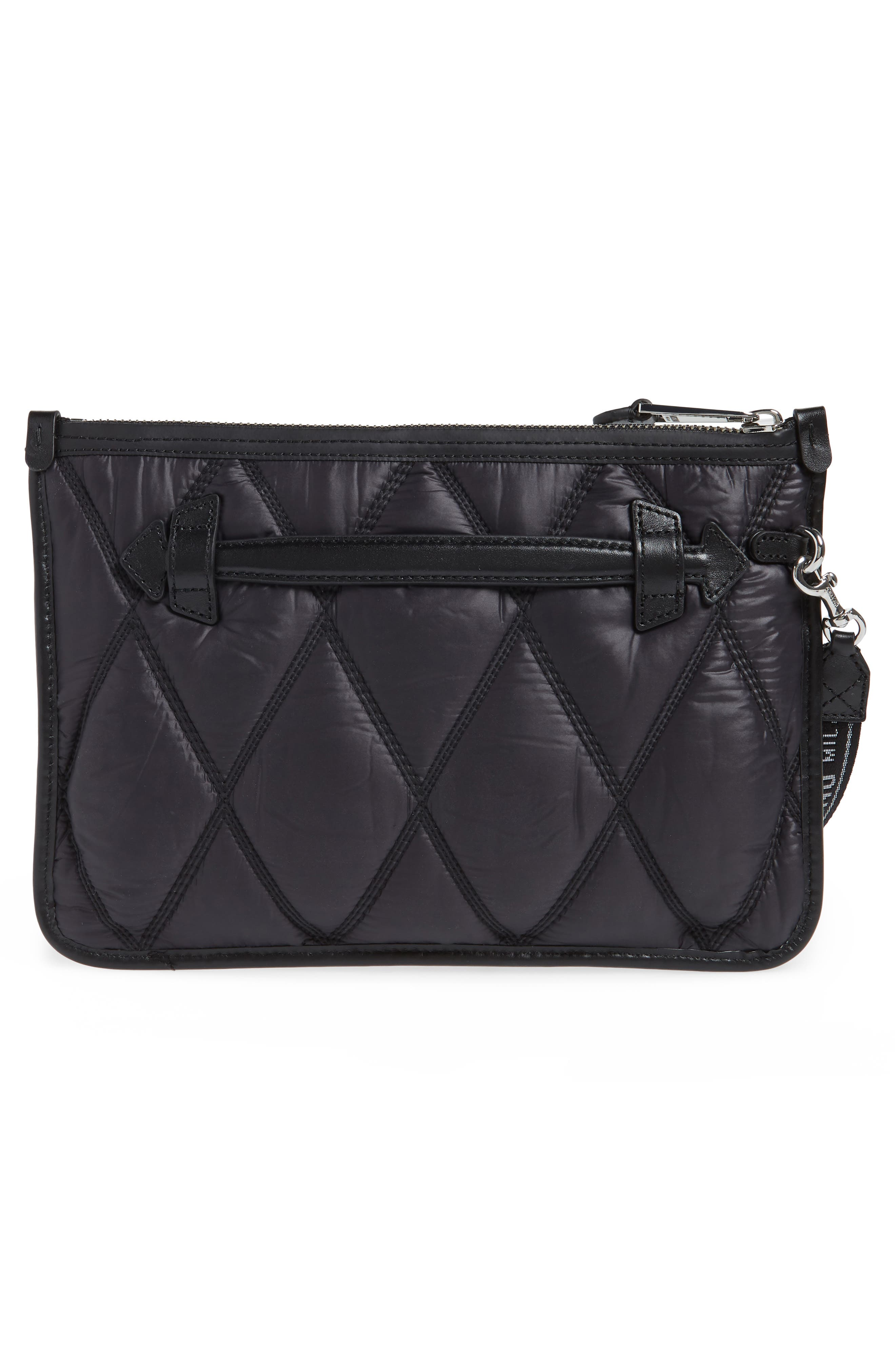 ,                             Quilted Nylon Clutch,                             Alternate thumbnail 3, color,                             BLACK
