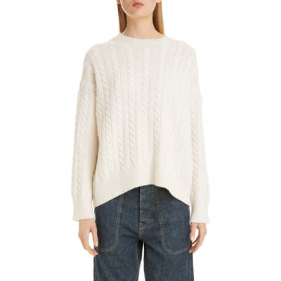 Loewe Logo Patch Cable Wool Sweater, Ivory