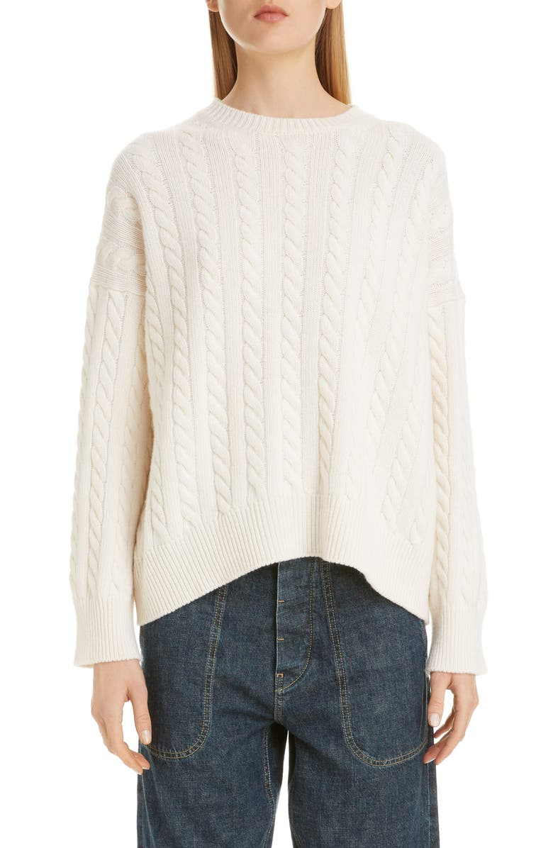 LOEWE Logo Patch Cable Wool Sweater, Main, color, ECRU