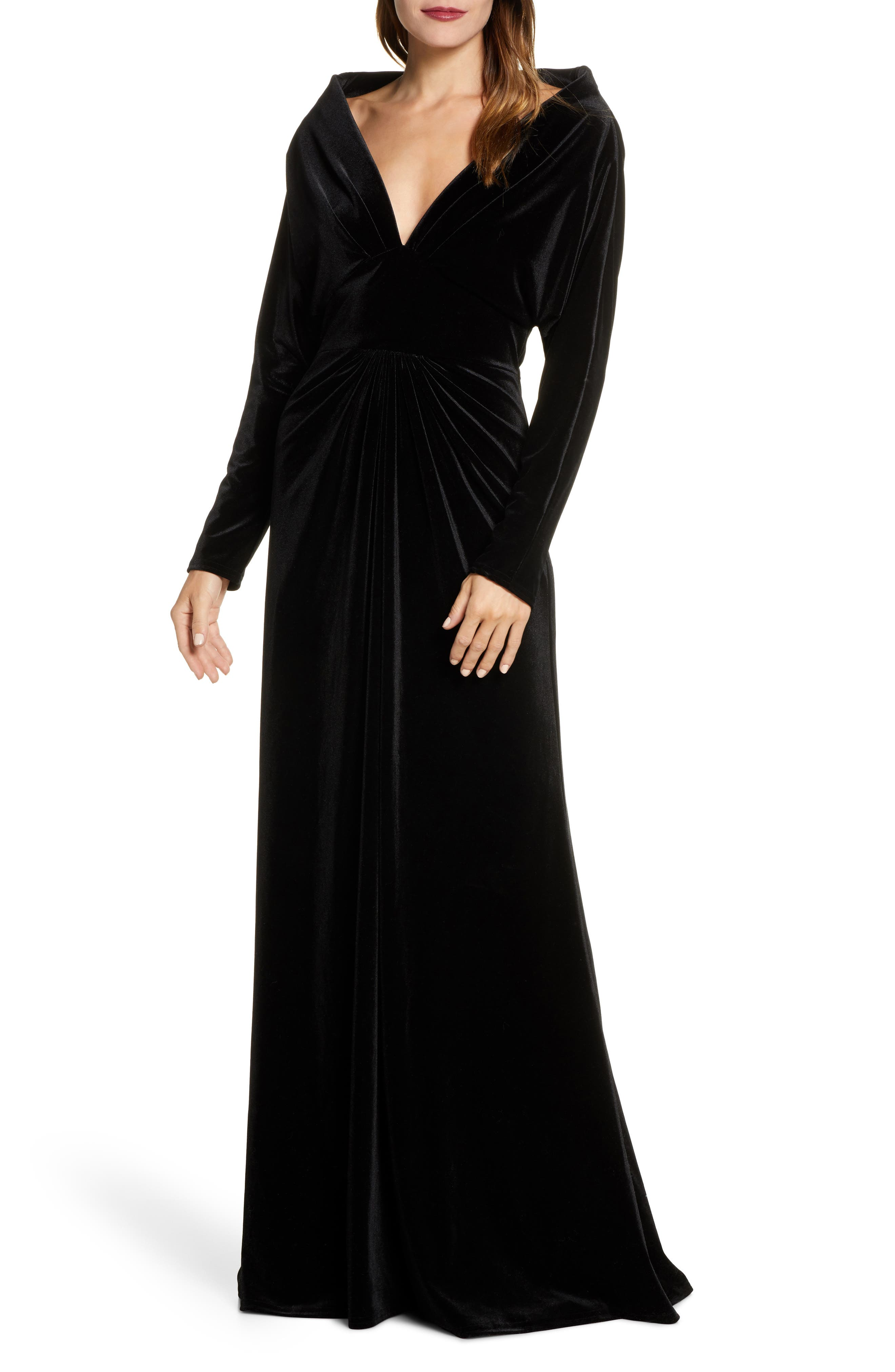 1950s History of Prom, Party, and Formal Dresses Womens Tadashi Shoji Plunge Neck Long Sleeve Velvet Evening Gown $398.00 AT vintagedancer.com