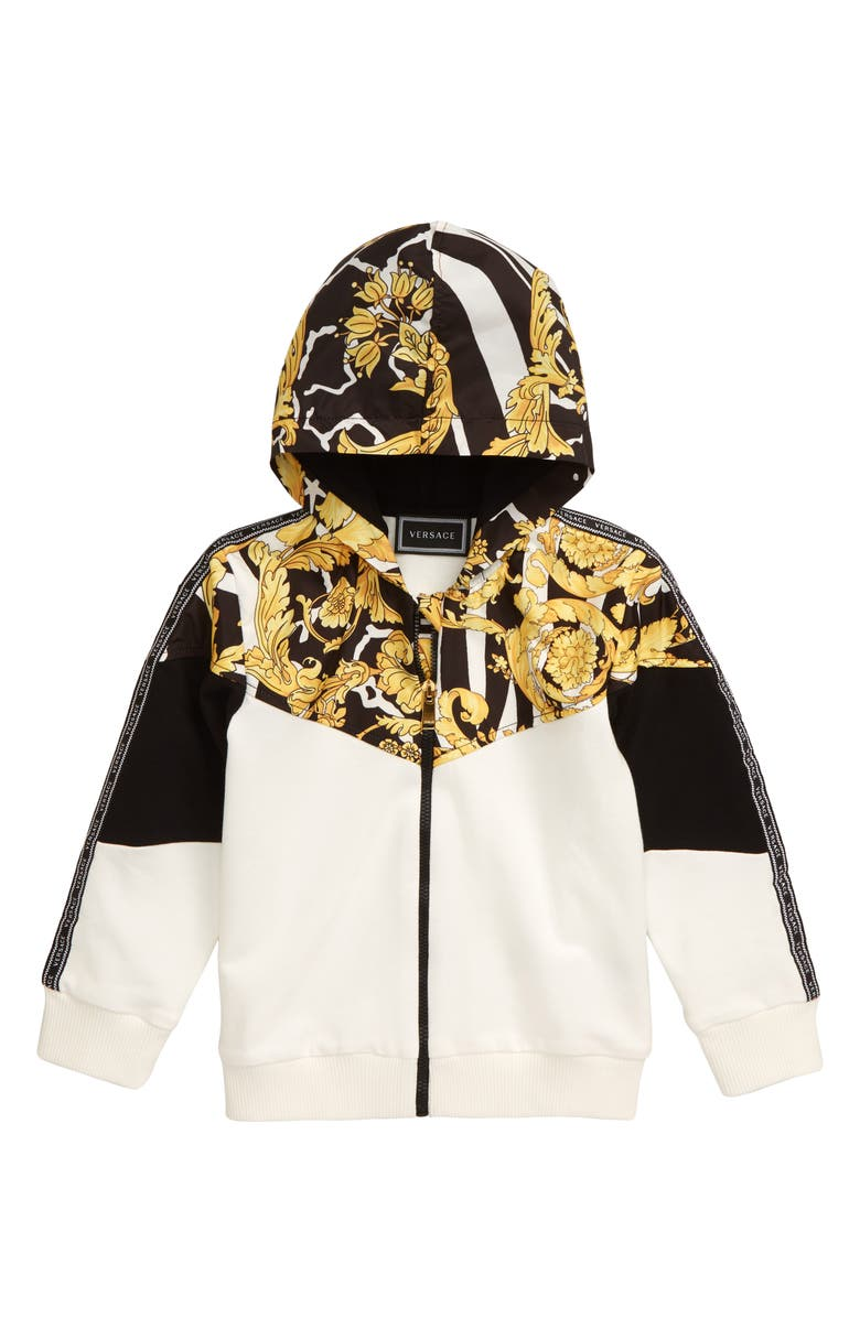 VERSACE Barocco Mixed Media Zip Hoodie, Main, color, BLACK/ GOLD