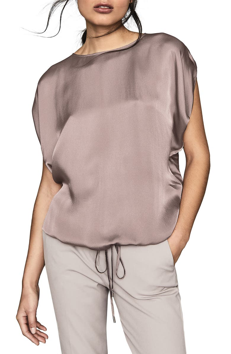 REISS Maggie Textured Satin Dolman Top, Main, color, LILAC