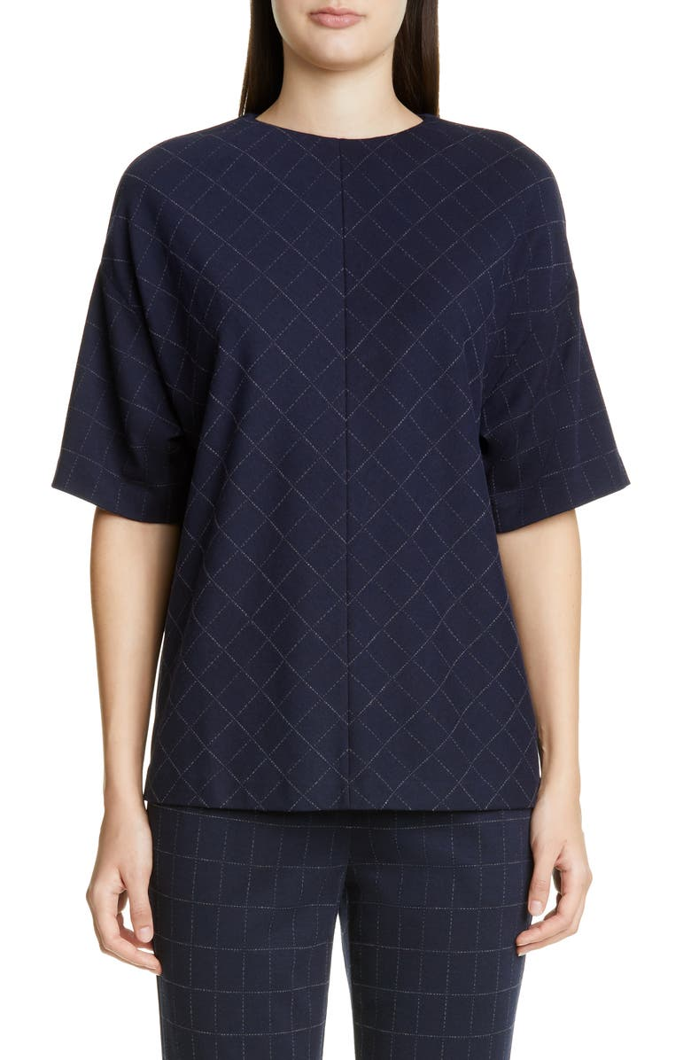 St John Collection Windowpane Double Face Jersey Top