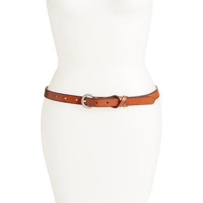 Plus Size Frye Flat Panel Skinny Leather Belt, Tan