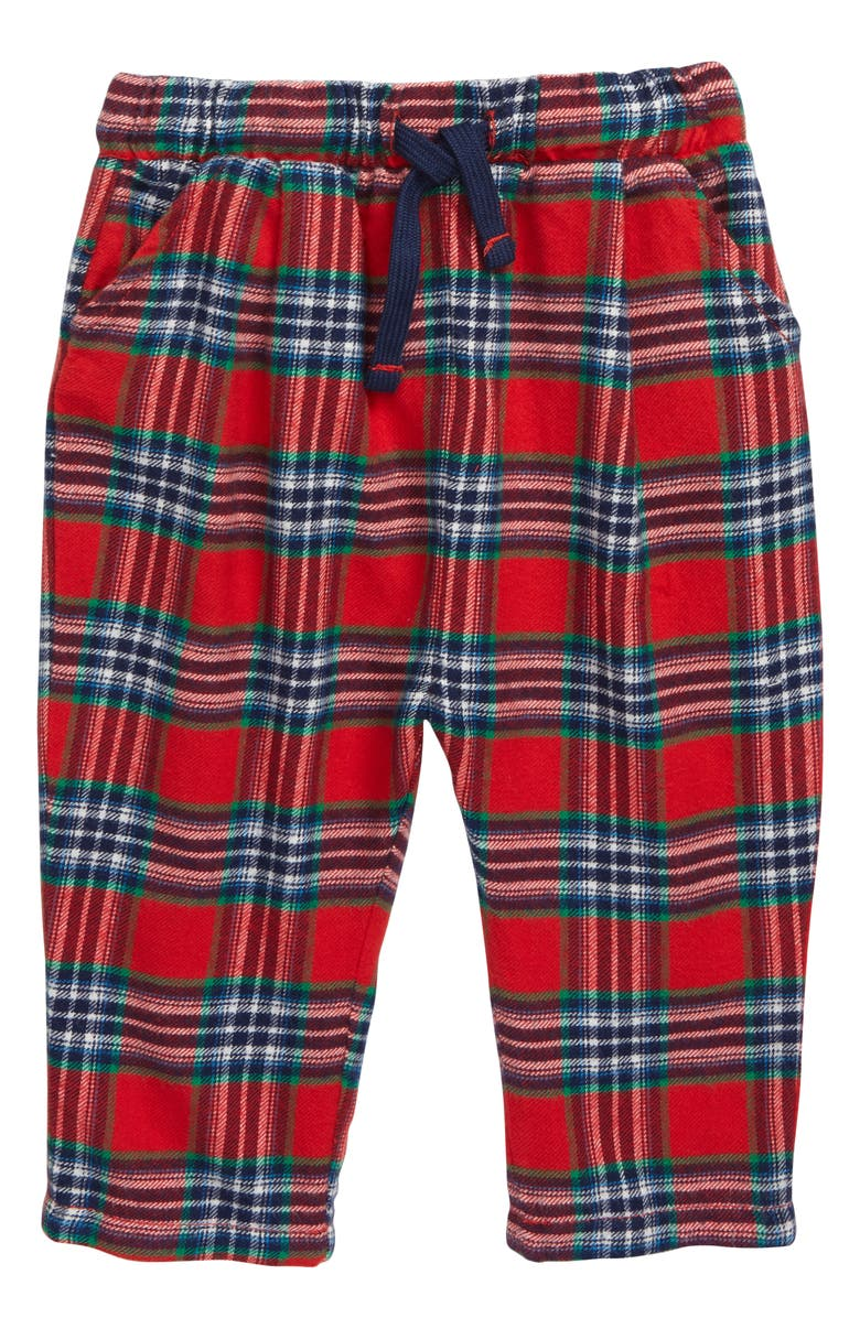 MINI BODEN Check Woven Pants, Main, color, RED ROCKABILLY/ CHECK