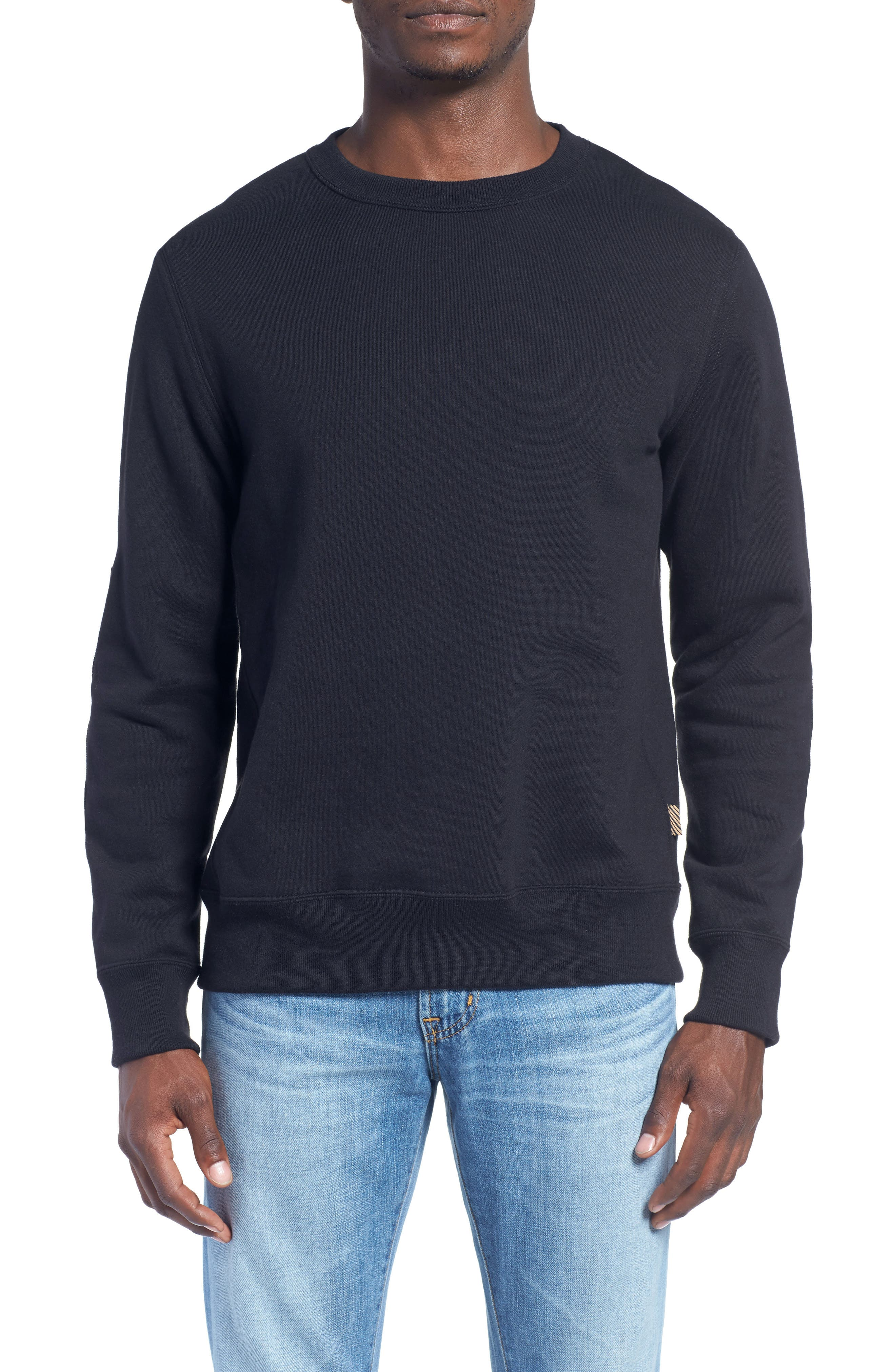 'Dover' Crewneck Sweatshirt With Leather Elbow Patches