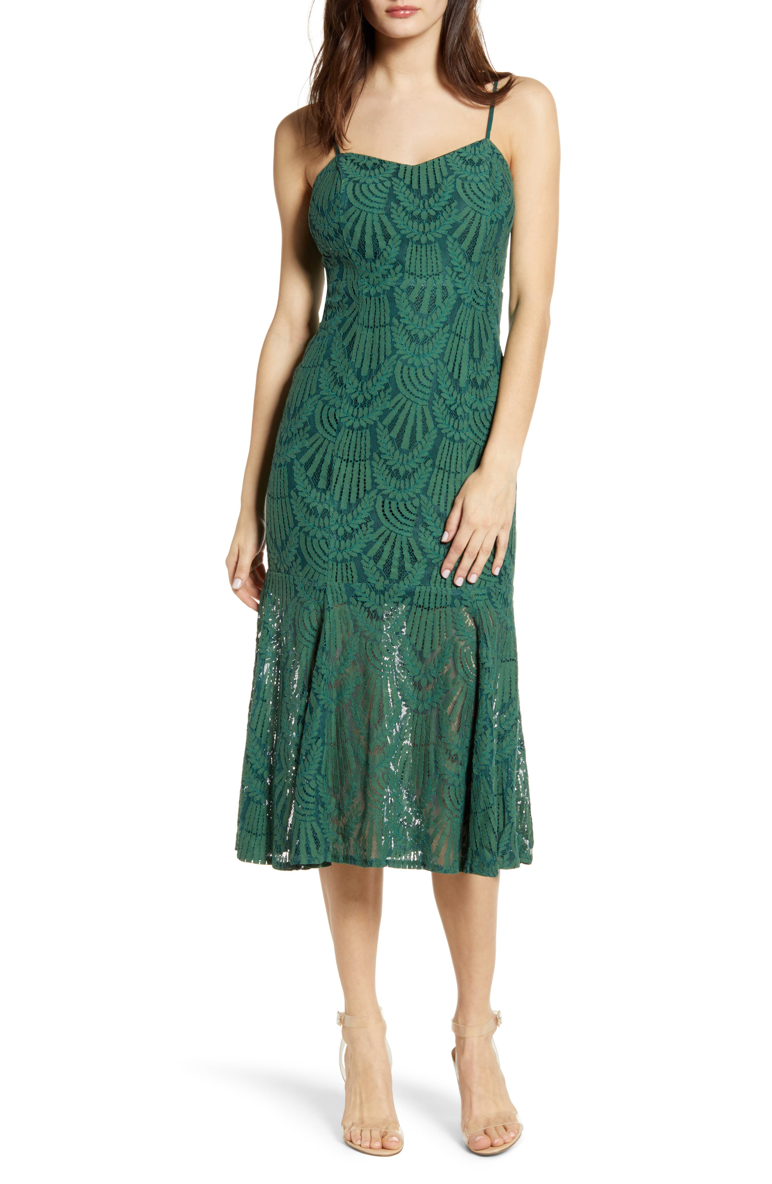 4Si3Nna Sleeveless Lace Midi Dress, Green