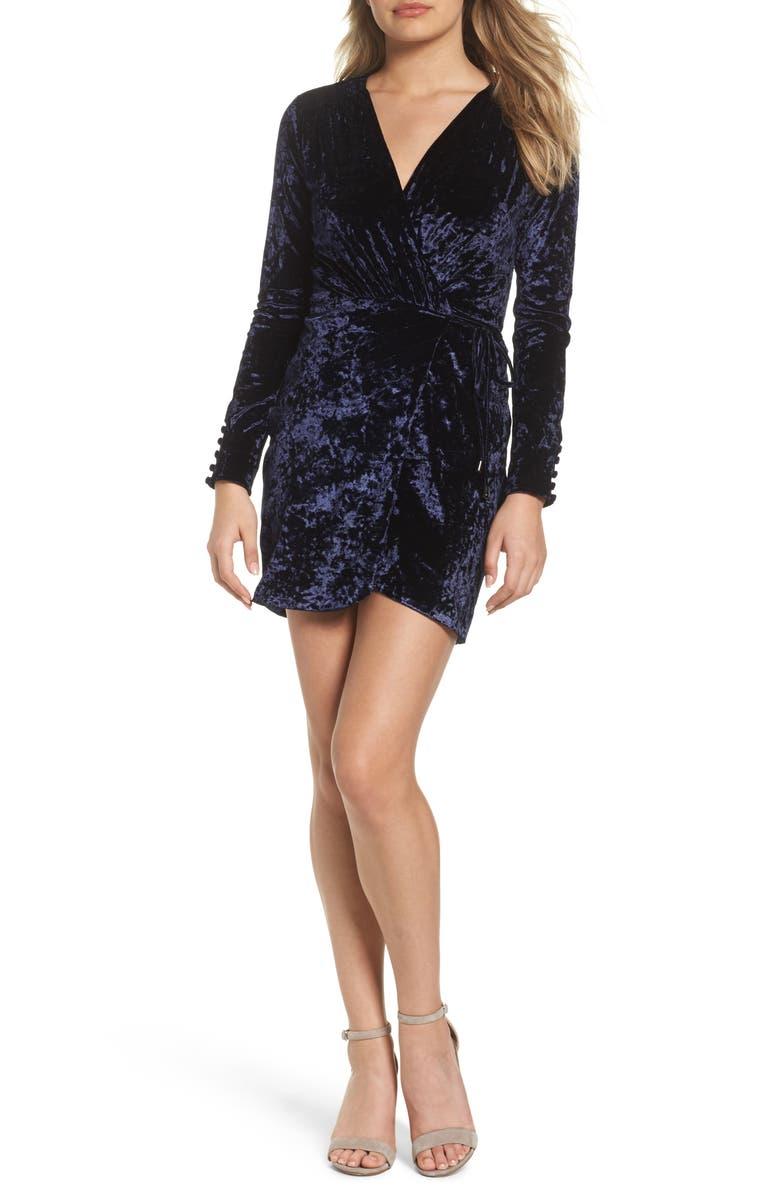 GREYLIN Clarissa Velvet Wrap Minidress, Main, color, 401