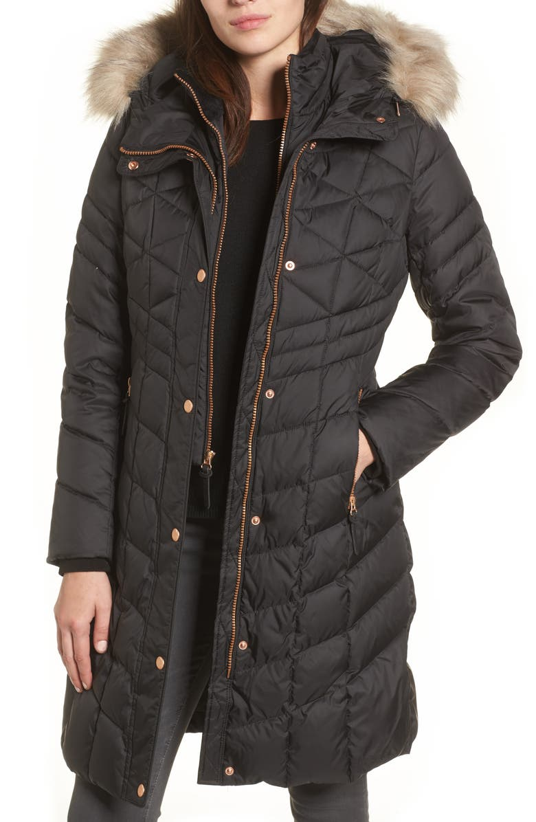 ANDREW MARC Meadow Down & Feather Fill Coat with Faux Fur Trim, Main, color, 001