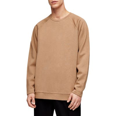 Topman Side Zip Crewneck Sweater, Beige