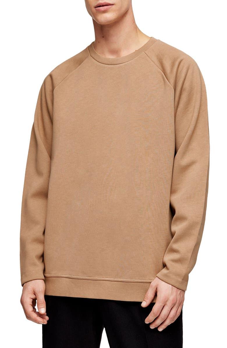 TOPMAN Side Zip Crewneck Sweater, Main, color, BEIGE