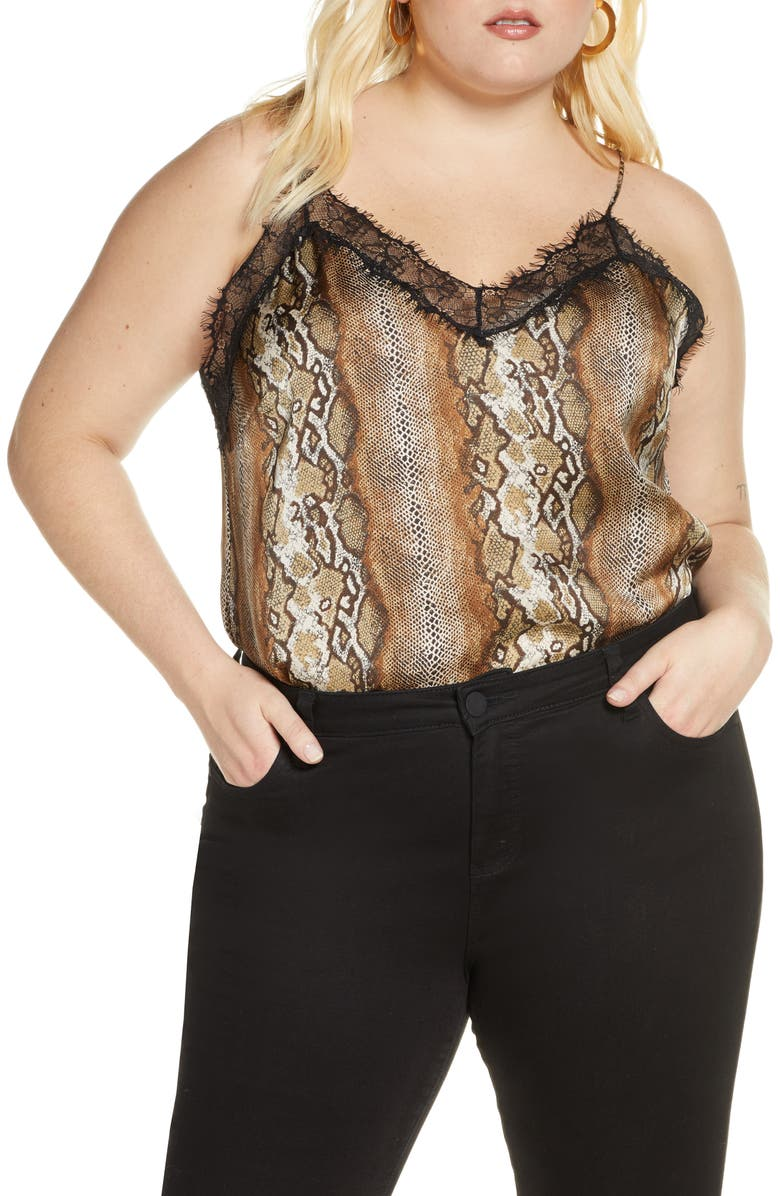 LEITH Lace Trim Tank, Main, color, TAN TAUPE SNAKESKIN