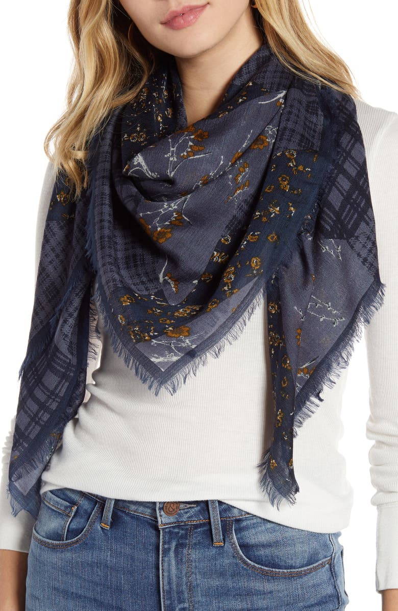 TREASURE & BOND Print Wool Scarf, Main, color, BLUE FLORAL MIX PRINT