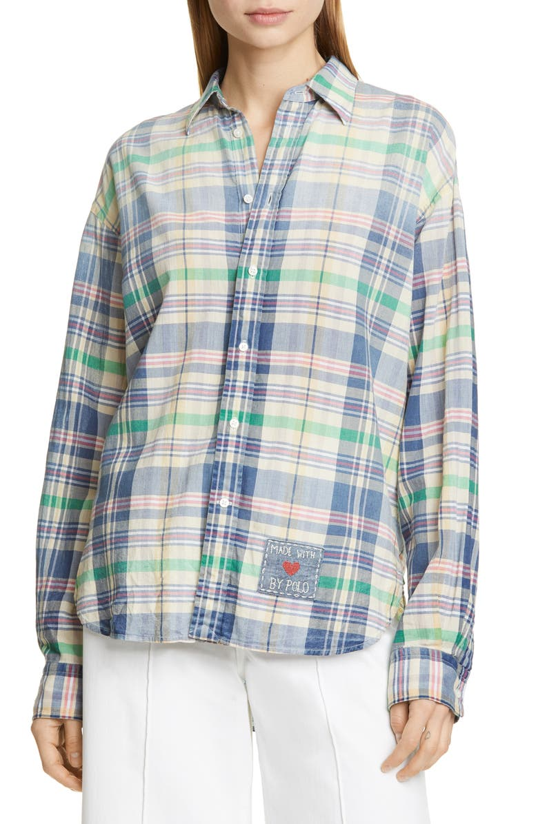 POLO RALPH LAUREN Relaxed Fit Madras Plaid Shirt, Main, color, 400