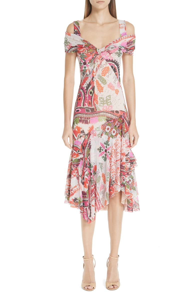 FUZZI Paisley Tulle Midi Dress, Main, color, 100