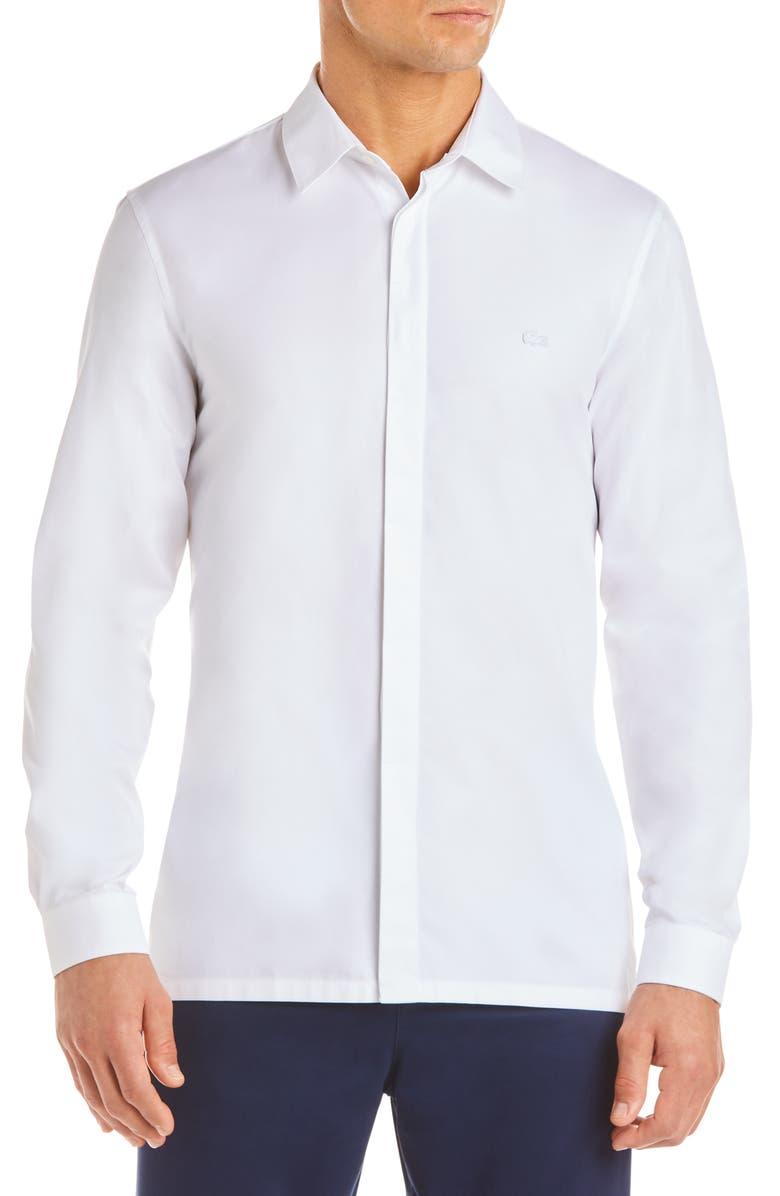 LACOSTE Nouvelle Mixed Media Sport Shirt, Main, color, 100