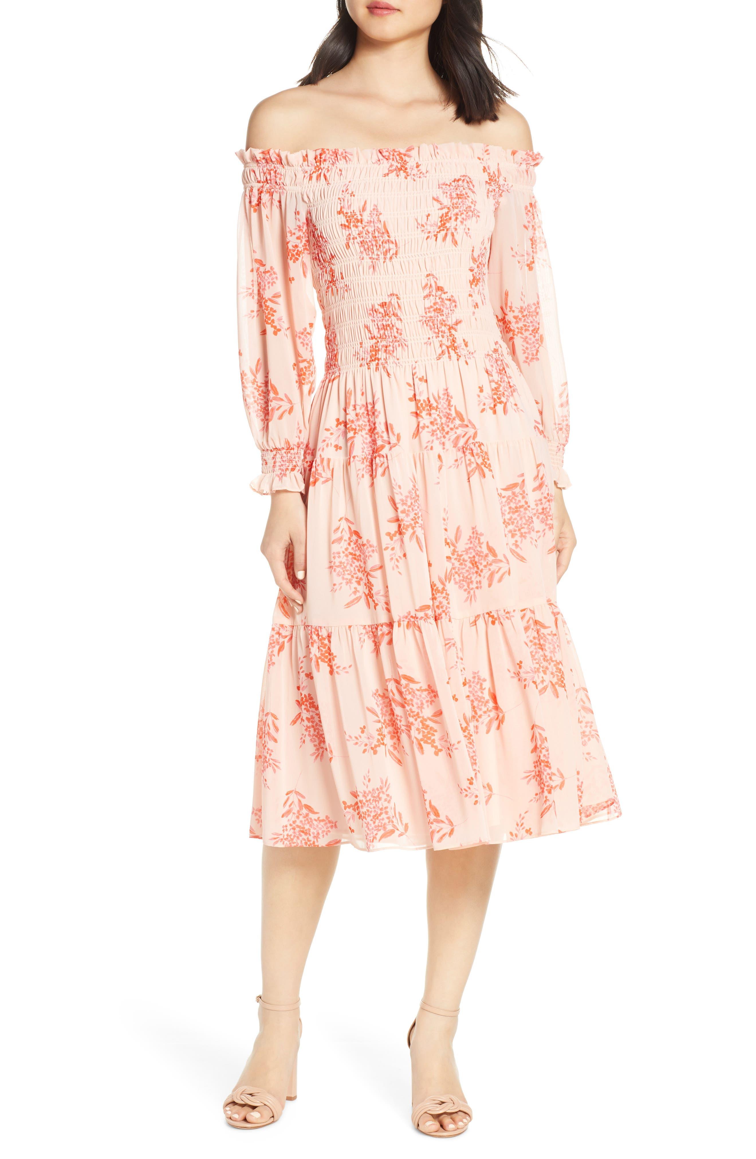 Eliza J Off The Shoulder Chiffon Midi Dress, Pink