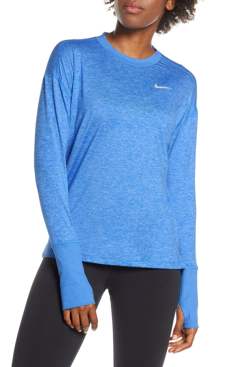 NIKE Dry Element Crewneck Top, Main, color, PHT BL/ UNV BL/ HTR