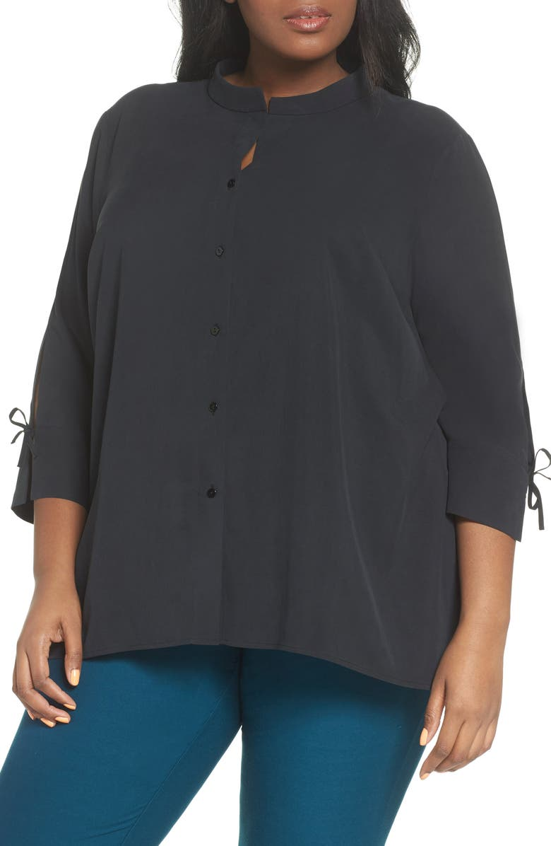 1e32dcad3908d4 Eileen Fisher Tie Sleeve Silk Blouse (Plus Size) | Nordstrom