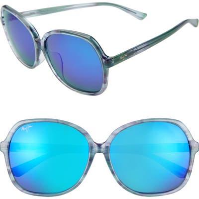 Maui Jim Taro 5m Polarizedplus2 Round Sunglasses - Aquamarine/ Blue Hawaii