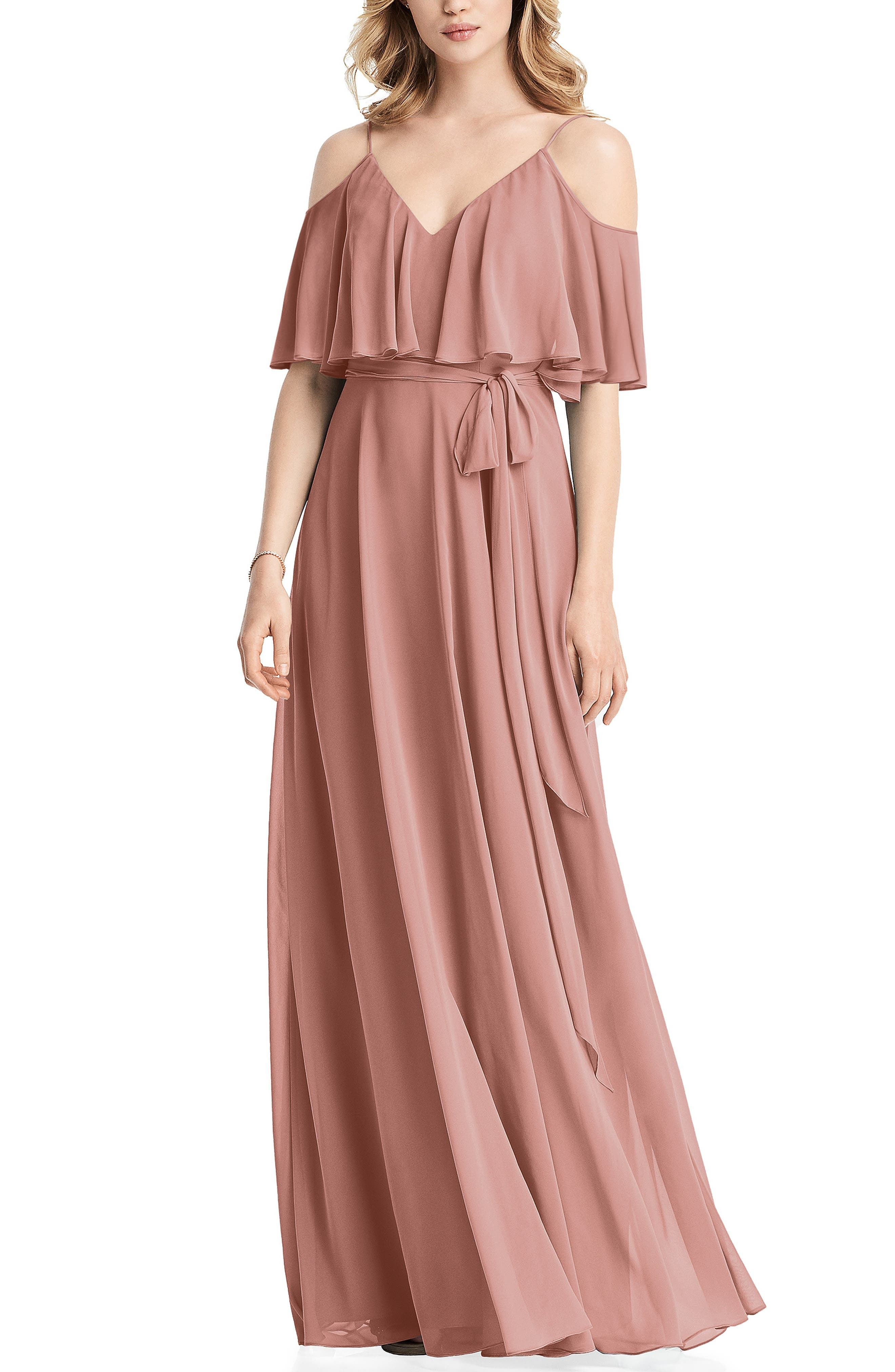 70s Prom, Formal, Evening, Party Dresses Womens Jenny Packham Cold Shoulder Chiffon Gown Size 18 similar to 14W - Pink $284.00 AT vintagedancer.com