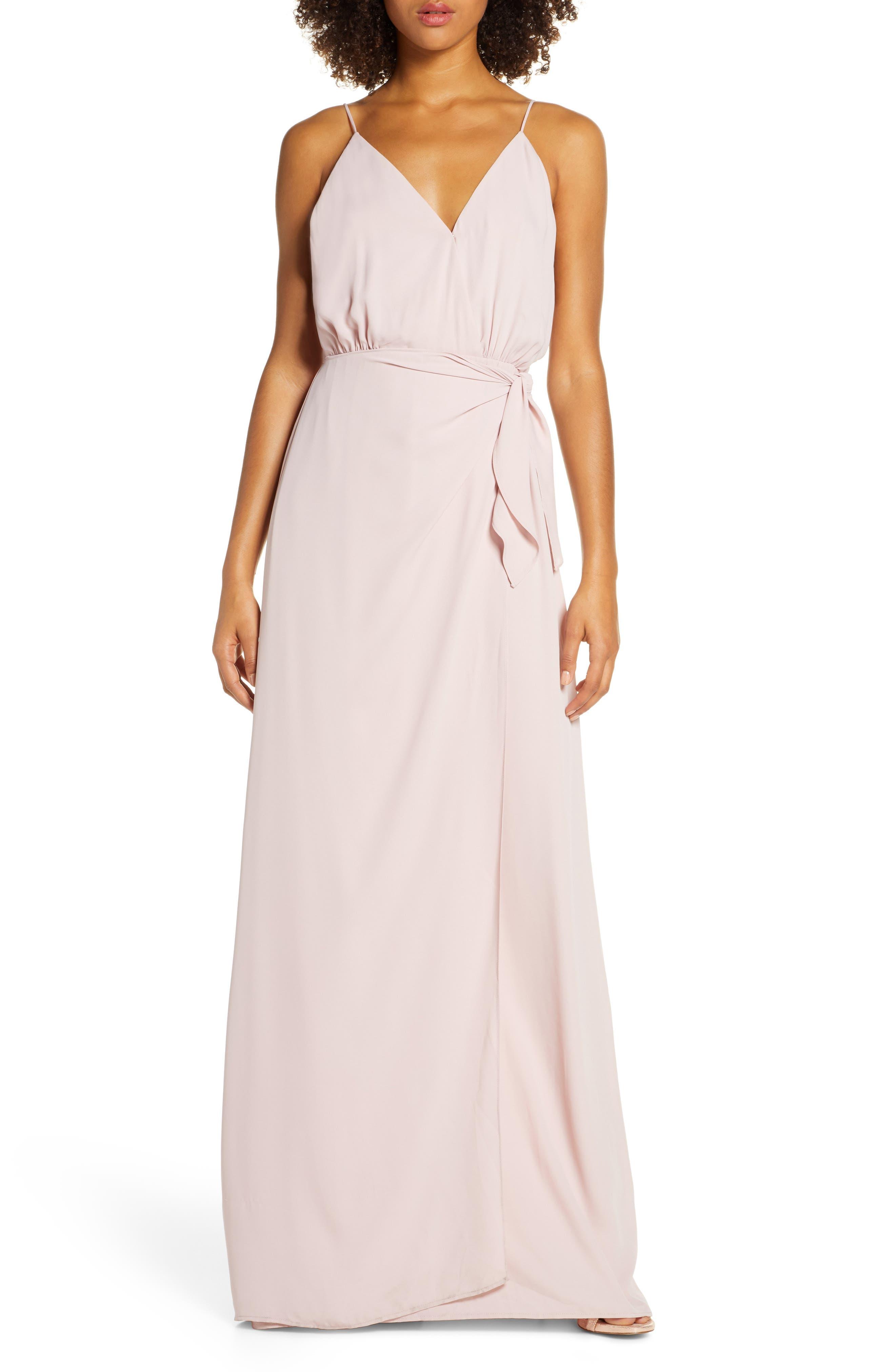 Wayf The Wynona Faux Wrap Gown, Pink