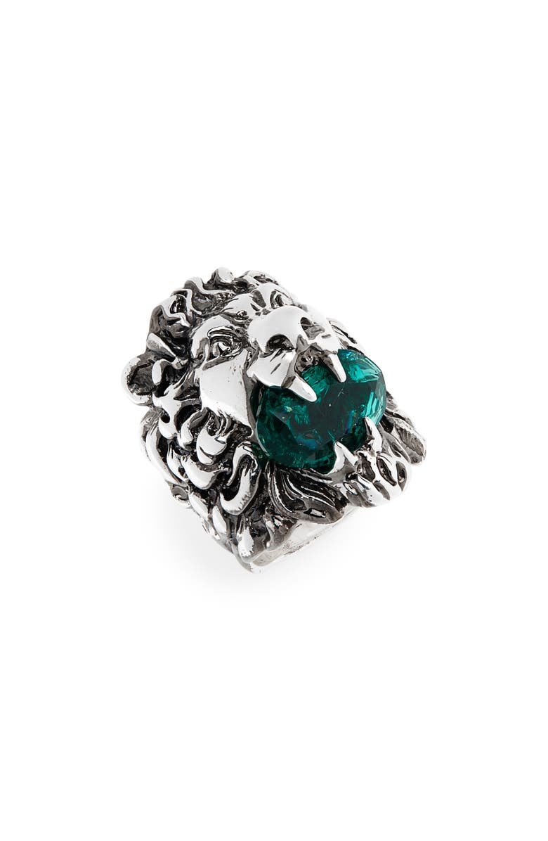 GUCCI Lion Head Aureco Crystal Ring, Main, color, SILVER/ GREEN