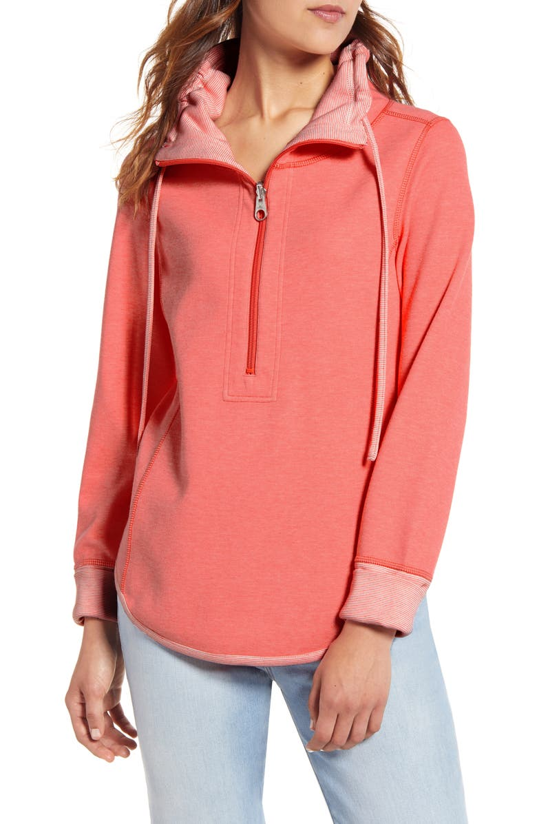 TOMMY BAHAMA Sun Fade Half Zip Pullover, Main, color, DUBARRY CORAL