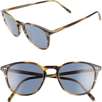 Oliver Peoples Forman L.a. 51Mm Polarized Round Sunglasses - Cocobolo/ Blue
