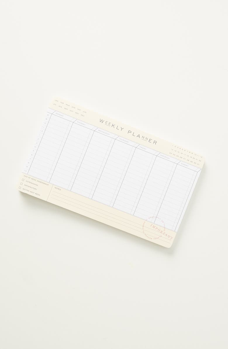 ANTHROPOLOGIE HOME Home Lea Weekly Planner Desk Pad, Main, color, NEUTRAL