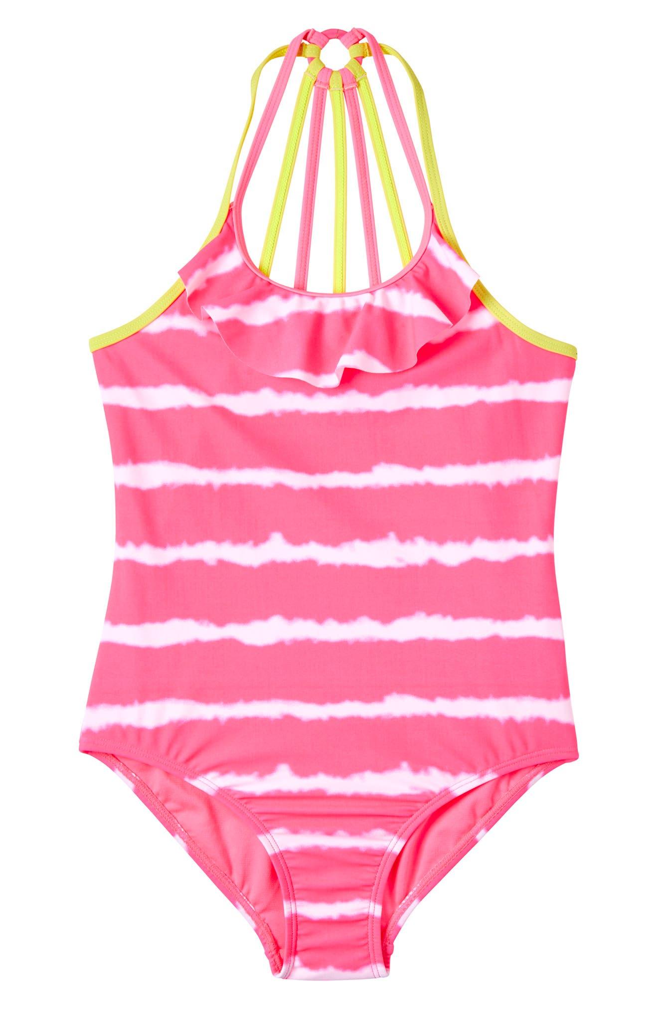 Kensie Girls Outerwear Baby Kensie Seersucker Stripe Ruffle Trim One-Piece Swimsuit