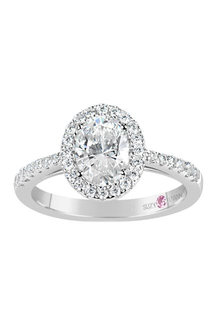 Image of Suzy Levian Sterling Silver Oval CZ Engagement Ring